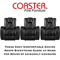 Stadium Seating 5PC Power Reclining Home Theater Pkg In Black W/Built-In Cupholders & Storage