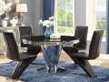 """Glam & Glitz Combine to Create this 5-PC Stainless Steel & Tempered Glass 51"""" Round Table"""