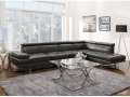 Metro Modern Design Charcoal Blended Leather Match Sectional Featuring; Headrest & Armless Chair