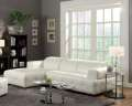 Blended Leather Match White Sectional & Armless Chair; Adjustable Headrests & Pocketed Coil Seating