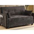 The Perfect Solution for Smaller Spaces; Dark Brown Twill Sofa Converts to a Comfy Goodnights Sleep