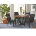 Two-Tone Amber & Black Modern Design Table Complete with 4-Comfortable Black Faux Leather Chairs