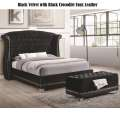Black Velvet w/Black Crocodile Faux Leather Creates this Unique One of a Kind Upholstered Bed