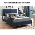 Mid Century Modern Design Blue Woven Upholstered Bed in Choice of Twin, Full, Queen or King