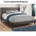 Grey Woven Upholstered Bed w/Button Tufts Offering Choice of Twin, Full or Queen