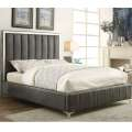 Sleek Modern Design Queen Upholstered Bed in Grey Faux Leather with Chrome Accents