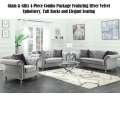 Glam & Glitz Define this 4-PC Combo Pkg Silver Velvet Upholstery, Tufted Backs & Elegant Seating