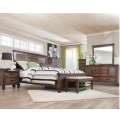 Rich Rustic Burnished Oak 6PC Bedroom Set Plus Free Matching Bench; Charging Station in Nightstand