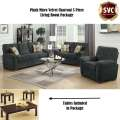 Special Value: Plush Micro Velvet Charcoal 5 PC Living Room Package with Lofty Cushions and Arms