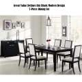 "Great Value Defines this Black Modern Design 7-PC Dining Set  1-18"" Leaf & Cream Upholstered Chairs"