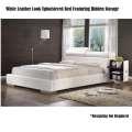 White Leather Look Upholstered Bed w/Hidden Storage, Adjustable Headrest in a Metro Modern Design