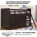 "Complete Twin Loft Bunkbed in Cappuccino; Built in Drawer Dresser,Bookcase & 8.5"" Pillowtop Mattress"