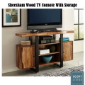 Live Edge TV Console in Natural Sheesham Wood With Black Accents & Plenty of Storage