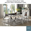 "The Ultimate Glamorous Dining Table w/Chrome Table Base w/6-Oval ""Alice In Wonderland"" Chairs"