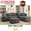 Top Selling Gray LinenLike Upholstered Sectional & Ottoman Featuring Reversible Chaise & Great Value