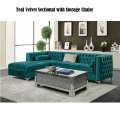 Add Some Bling to Your Living Room Area with this Teal Velvet Sectional w/Storage Under Chaise