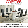 Glossy White Contemporary Sleek Design Dining Table Matched with Iconic Black Faux Leather Chairs