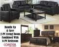 Bundle Up & Save W/ This Multi-Room Pkg Featuring 6PC Cappuccino Bedroom Set & 2PC Sofa & Loveseat