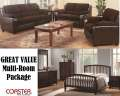 Great Value W/Contemporary Multi-Room Pkg Featuring 6PC Bedroom Set + 2PC Living Room In Chocolate