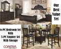 Luxurious Dk Cherry 6PC Traditional Bedroom Set W/Cappuccino 5PC Counter Set W/Storage & Ext Leaf