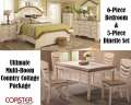 The Ultimate Multi-Room Country Cottage Package Featuring 6PC Bedroom Set Plus 5PC Set Dinette Set