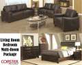 Bedroom/Living Room Multi-Room Pkg Featuring Qn 7PC Brown Bedroom Group & Dark Brown Sofa W/Loveseat
