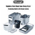 Delonghi Stainless Steel Dual Zone Deep Fryer Featuring Oil Drain System
