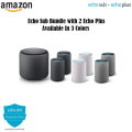 Echo Sub Bundle With 2 Echo Plus(2nd Gen) Devices With 2Yr Warranty - Available In 3 Colors