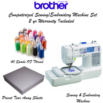 Brother Computerized Embroidery Kit-With Sewing Machine, Precut Sheets, 40 Spool Thread & Warranty