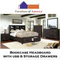 Wire Brushed Rustic Brown Bedroom Package Featuring Bookcase Headboard with USB & Footboard Storage