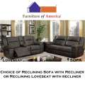 Dark Brown 2-PC Bundle Your Choice of Reclining Sofa or Loveseat Plus Recliner