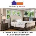 Luxury & Style Combine to Make This 5-Piece Queen Upholstered Bed & Natural Wood Finish