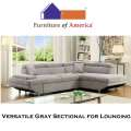 Versatile Gray Sectional for Lounging, Conversing or Overnight Guests with Optional Pullout Sleeper