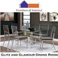 Glitz & Glamour 7-PC Dining Package Featuring an Ultra Modern Design in a Chrome Finish with a Glass