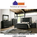 The Ultimate Wow Factor; 5-PC Bundle Pack in Metallic Gray Finish with Upholstered Headboard