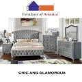 A Modern Twist that Goes Back in Time; Glamorous Wingback Design Headboard in Gray Upholstery