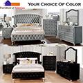 Choice Of Gray Or Black Upholstered Velvet-Like 6-Piece Queen Bedroom Set