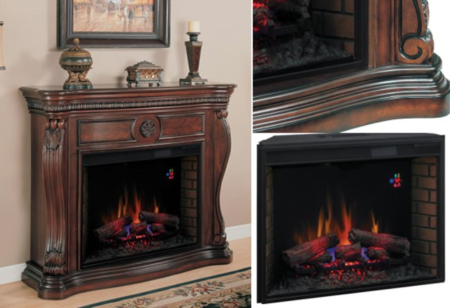Classic Traditional Design Electric Fireplace with Oversized 33 ...