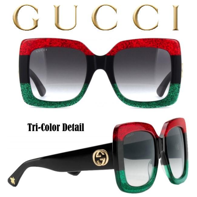ee5935e1ae4 Gucci Women s Tri-Color Square Acetate Sunglasses-Available In Black ...