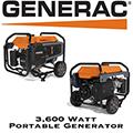 Generac 3,600 Watt Portable Generator With 3.7 Gallon Fuel Tank Capacity