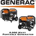 Generac 8,000 Watt Portable Generator With 7.9 Gallon Fuel Tank Capacity