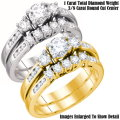Fine Jewelry-Women's 14K Bridal Ring Set In White Gold Or Yellow Gold With 1.0 Carat Total Diamonds