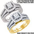 Fine Jewelry-Women's 14K Princess Cut Bridal Set In White Or Yellow Gold W/ 1.0 Carat Total Diamonds