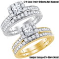 Fine Jewelry-Women's 14K Princess Cut Bridal Set In White Or Yellow Gold W/1.25 Carat Total Diamonds