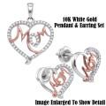 Fine Jewelry- Women's 10K White & Rose Gold Mom Heart Pendant & Earrings With Diamonds