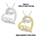 Fine Jewelry-Women's 10K Mom Tilted Heart Pendant In Yellow Or White Gold With Diamonds