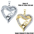 Fine Jewelry-Women's 10K Mom Heart Pendant In White Or Yellow Gold With Diamonds