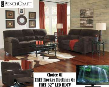 Living Rm Makeover 15PC Pkg In Plush Chocolate Offering Choice Of FREE Rckr Recliner Or 32' LED HDTV