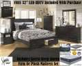 FREE 32' LED HDTV W/This Bedroom Makeover Featuring 9PC Bedroom Set & Qn Firm Or Plush Mattress Set