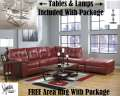 FREE Area Rug W/This Metro Modern Blended Leather Match 8-PC Combo Hot Salsa Sectional